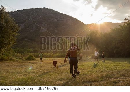 Suva Planina, Serbia - September 3, 2016: People, Mostly Men, Playing Soccer Football In A Countrysi