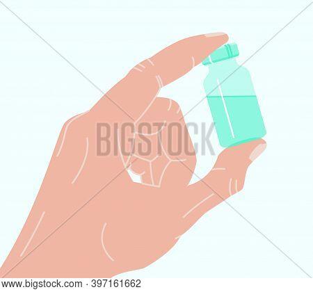 Hand Holding Antiviral Covid 19 Vaccine. Covid Or Coronavirus Vaccination