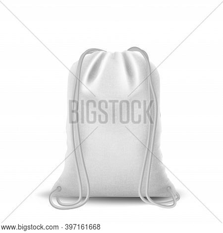 Sport Bag Mockup, Drawstring Pouch Set Of Bags. Backpack For Sport Or School Cloth And Shoes. Vector