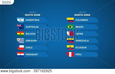 South America's Football Tournament 2020, Flags Of All Participants Sorted By Groups And Zones.