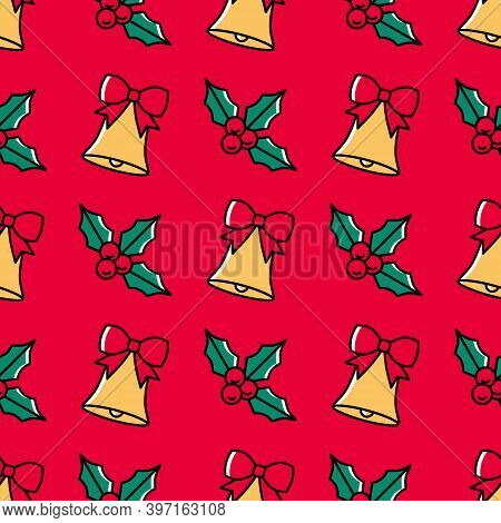 Trendy Christmas Seamless Pattern With Holly And Bells On A Vibrant Red Background. Cute Colorful Fe
