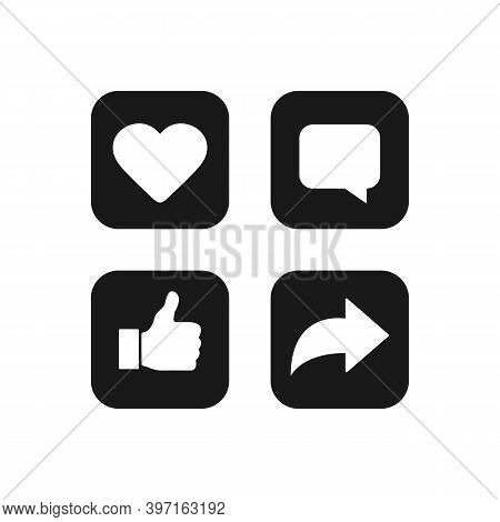 Heart, Comment, Thumbs Up And Repost Icons Isolated On White Background. Social Media Symbols In Bla