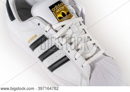 Adidas Superstar - Famous Sneaker Model Produced By German Manufacturer Of Sports Equipment And Acce