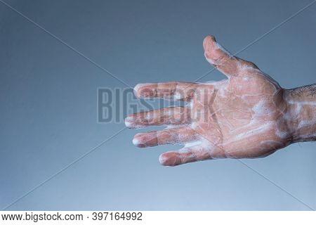 Soapy Hand. Washing Hands For Coronavirus Protection.covid-19, Coronavirus, Sars-cov-2 Outbreak. 201
