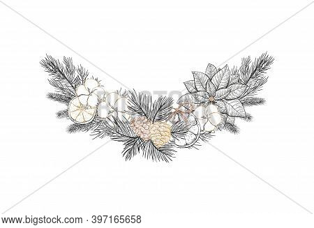 Winter Garland Decor With Cotton Flowers, Pine Cones, Spruce Branches, Poinsettia, Floral Decor. Chr
