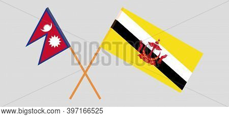 Crossed Flags Of Brunei And Nepal. Official Colors. Correct Proportion. Vector Illustration