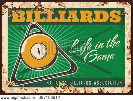 Billiards Game Rusty Metal Plate, Vector Ball, Triangle Rack And Crossed Cues On Green Table Vintage