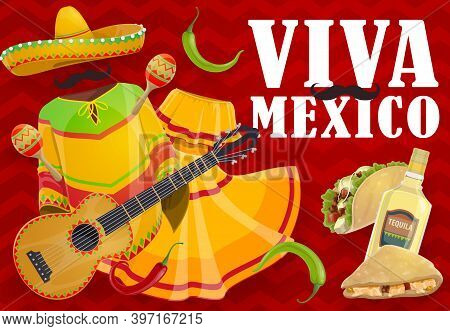 Viva Mexico Holiday Food And Mexican Fiesta Clothes. Vector Sombrero Hat, Maracas And Guitar, Chilli