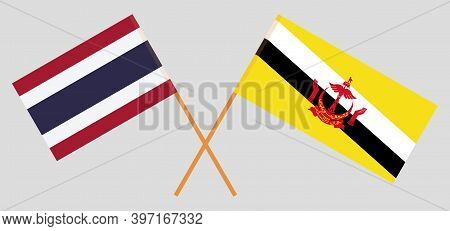 Crossed Flags Of Brunei And Thailand. Official Colors. Correct Proportion. Vector Illustration