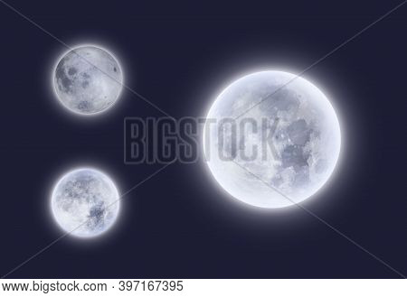 Full Moon In Night Sky 3d Vector Design. Realistic Detailed White Glowing Surface Of Space Planets S