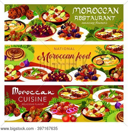 Moroccan Food Vector Chicken Soup, Couscous Salad With Vegetables, Balkan Cold Eggplant Soup. Payla,