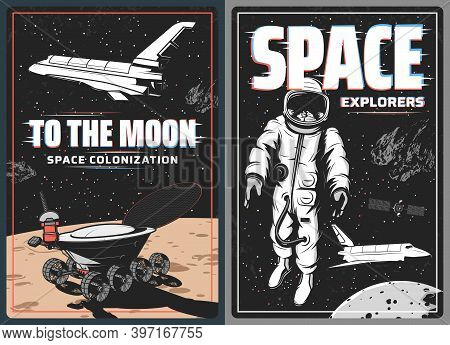 Space Astronaut, Spaceship And Moon Planet Retro Vector Posters With Glitch Effect. Universe Galaxy