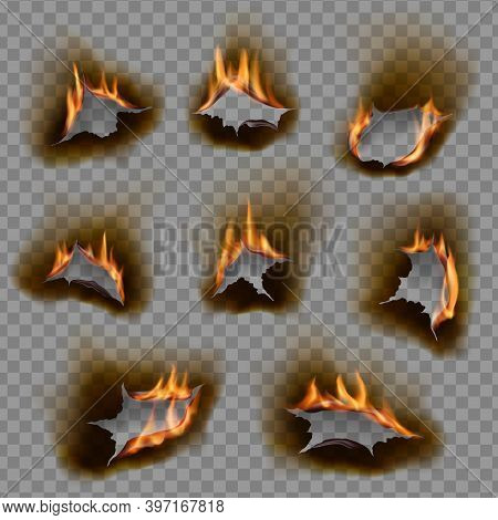 Burning Holes, Vector Burn Paper Fire With Realistic Charred Edges, 3d Flame On Sheet. Burned Round