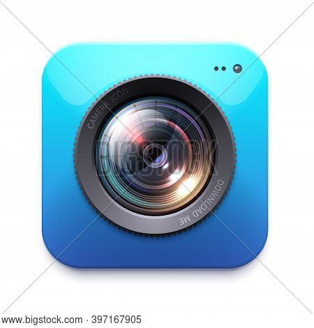 Photo Or Video Camera Icon, Isolated Vector Photographer Equipment. Zoom. Snapshot, Photocamera Symb