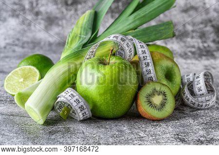 Fruit Detox.fresh Green Fruits Vegetables On Vintage Background - Concept For Detoxification, Diet O