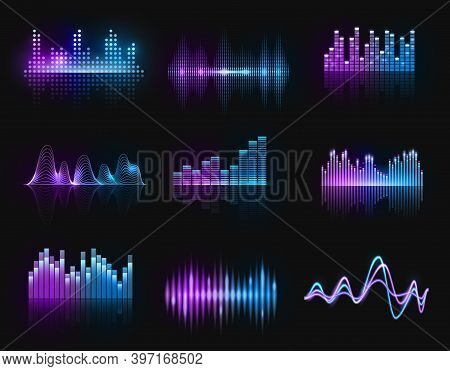 Music Equalizers, Vector Audio Or Radio Waves, Sound Frequency Neon Track Lines. Digital Player Disp