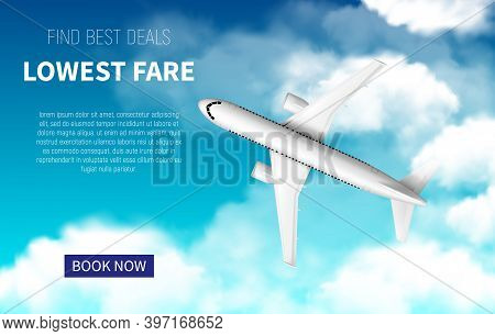Lowest Fare Vector Poster, Cheap Flight Business Promotion With Realistic 3d Airplane. Book Now Onli