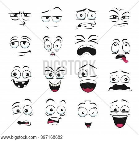Face Expression Isolated Vector Icons, Cartoon Funny Emoji , Scared And Shocked, Grin, Smirk Or Craz