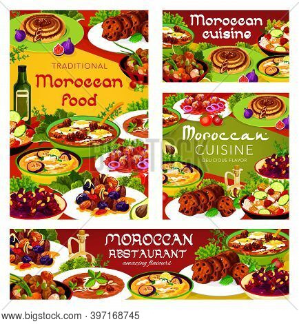 Moroccan Food Vector Balkan Cold Eggplant Soup, Meat With Prunes And Almond, Pomegranate Beetroot Sa