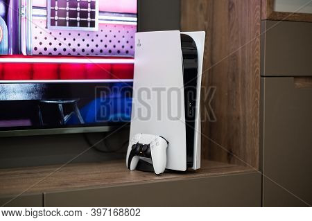 Moscow - November 28 2020: The Brand New Sony Playstation 5 Gaming Console With Dualsense Controller