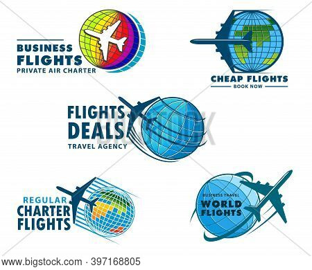 Airplane Travel Vector Icons. Modern Planes Flying In Sky, Flight Tours, Air Transportation. Aviatio