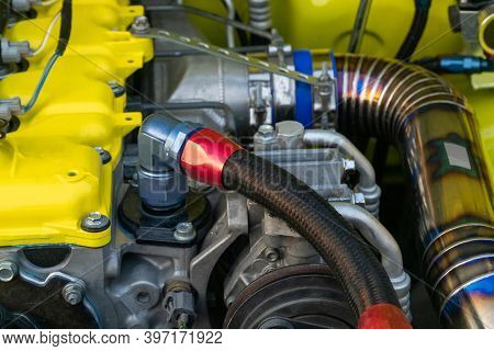 Double Braided Nylon Hose And Fittings On Diesel Racing Car