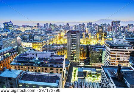 Santiago de Chile dwontown after sunset, Chile