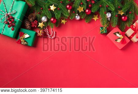 Christmas Background Presents Greeting Card With Top View Overhead Green Fir Tree Branches And Decor