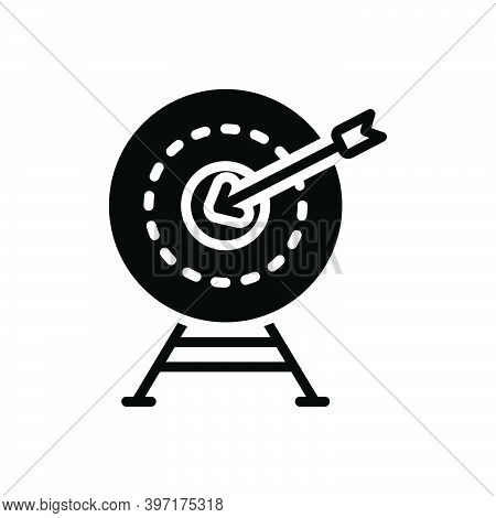 Black Solid Icon For Exactly Accurately Archery Shooting Range Achievement Target Goal Shot