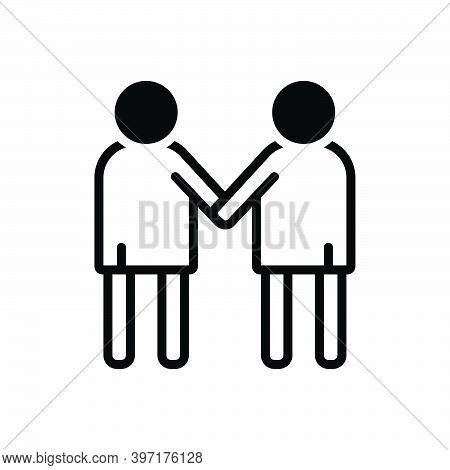 Black Solid Icon For Friendship Rapprochement Buddy Coalition Union Alliance Combination Team Collea