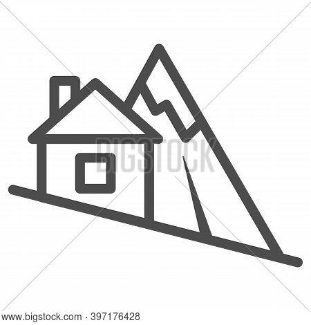 Mountain Descent Line Icon, World Snowboard Day Concept, Ski Tracks Sign On White Background, Steep