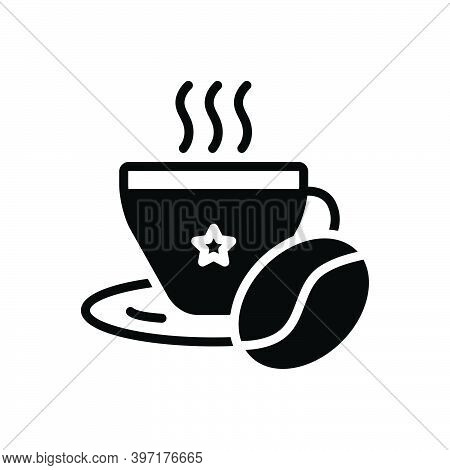Black Solid Icon For Coffee Bean Aroma Beverage Breakfast Mocha Cappuccino Cup Liquid Hot-drink