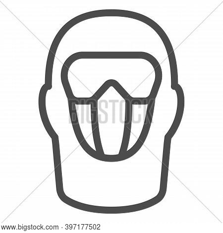 Snowboarding Balaclava Line Icon, World Snowboard Day Concept, Winter Wear For Active Lifestyle Sign
