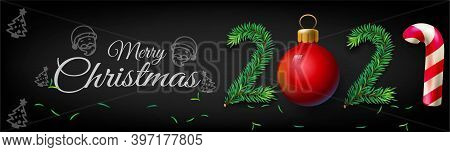 Merry Christmas And Happy New Year 2021 Banner Horizontal, Vector Illustration - New Year 2021 Poste