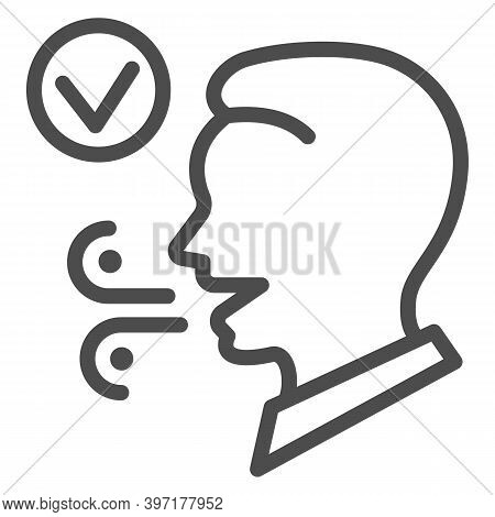 Fresh Breath Line Icon, International Dentist Day Concept, Male With Healthy Fresh Mouth Breath Sign