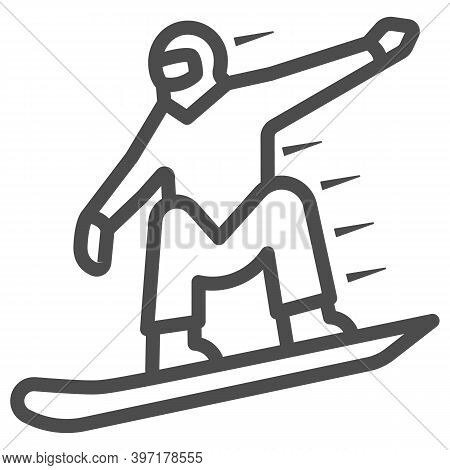 Snowboarder Line Icon, World Snowboard Day Concept, Man Snowboarding Sign On White Background, Silho