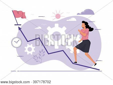 An Illustration Of A Woman Going Up The Chart Towards The Final Flag