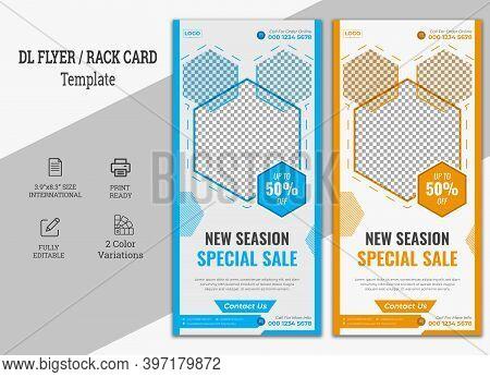 Fashion Sale Dl Flyer Or Rollup Banner,dl Flyer Design Layout. Orange Dl Corporate Business Template