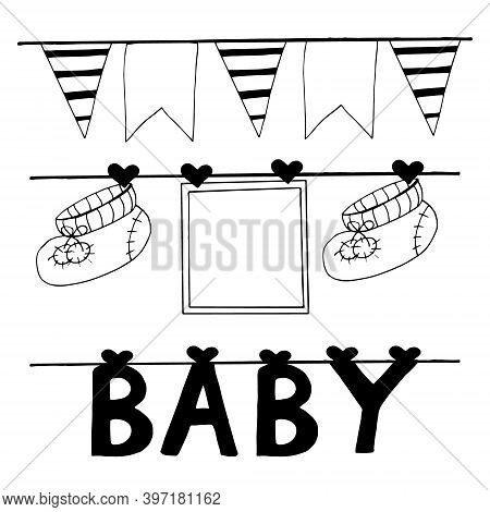 Frame, Booties And Letters Baby Hang On Clothespins On A Thread, Garland With Flags Set For Design B