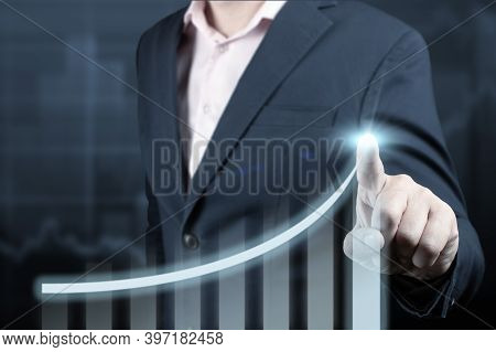 Businessman Pointing Arrow Graph Corporate Future Growth Plan And Increase Percentage. Businessman T
