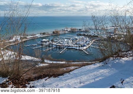 Winter Landscape: Veiw To Lake Ontario And Marina With Winterizing Boats From Scarborough Bluffs In