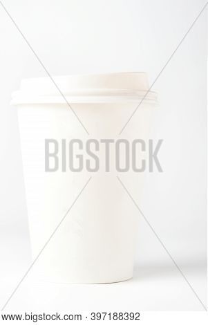 Blank White Cardboard Coffee Cup With Cap Isolated On White