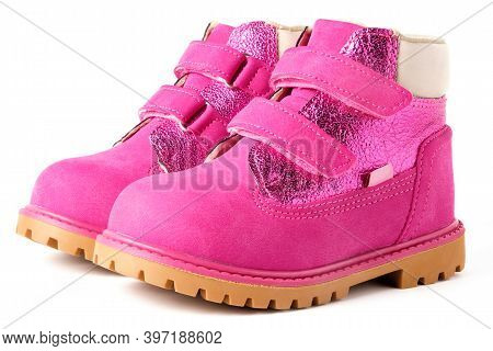 Pink Children Nubuck Boots With Velcro Fasteners For Girls Isolated On White