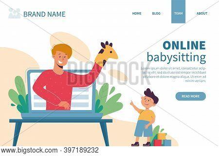 Virtual Sitter, Online Babysitting Service, Remote Teaching Concept. Entertaining The Kids Via Inter