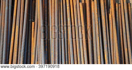 A Close-up Of Reinforcing Steel Bars, Rebars Used To Strengthen The Concrete Footings, Foundations,