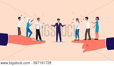 Mediation And Settlement Of Business Conflicts Flat Vector Illustration.