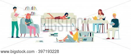 People Literature Lovers Fond Of Reading Books Flat Vector Illustration Isolated.