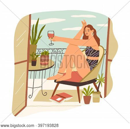 Alone Young Woman Sitting With Glass Of Wine At Balcony At Summertime. Female Character Resting In C