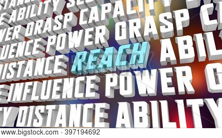 Reach Power Ability Influence Grasp Skill Words Background 3d Illustration