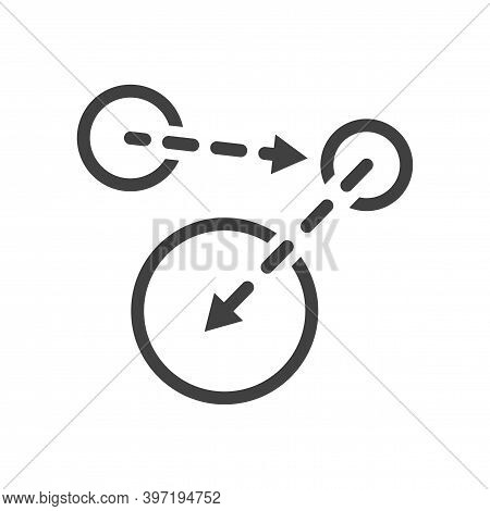 A Minimalistic Icon Of Moving From One Point To Another. An Image Of Three Spheres And Arrows Betwee